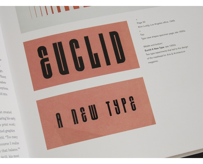 'Euclid A New Type' type experiments from the late 1930s. The letterforms are created by combining geometric shapes that could often be found in a typical letterpress printer's type case.