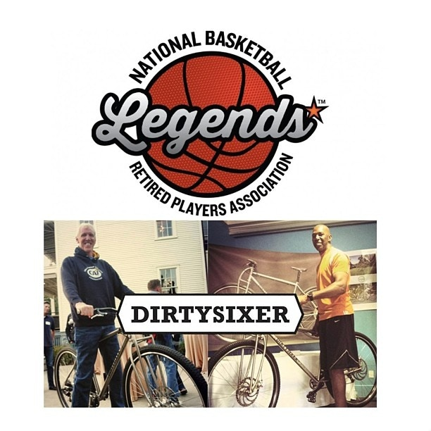 "6'11"" Bill Walton and 6'11"" Thurl Bailey with our first DirtySixer prototype (model available custom)."