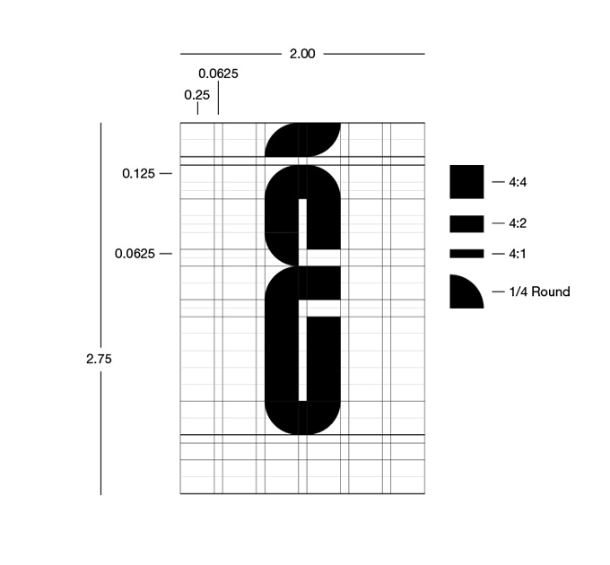 The four geometric shapes and the basic grid structure for Lustig Elements