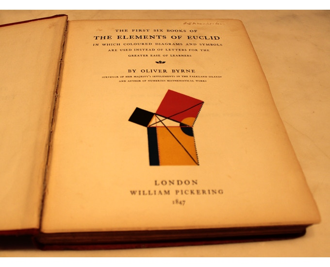 Elaine's first edition copy of Oliver Byrne's 'The Elements of Euclid' published in 1847