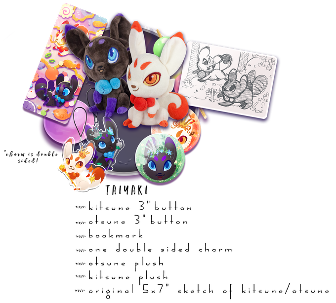 "Includes: One Kitsune Plush, One Otsune Plush, One Double Sided Charm, Both 3"" Buttons, 1 Bookmark and One 5x7"" sketch of Kitsune/Otsune"