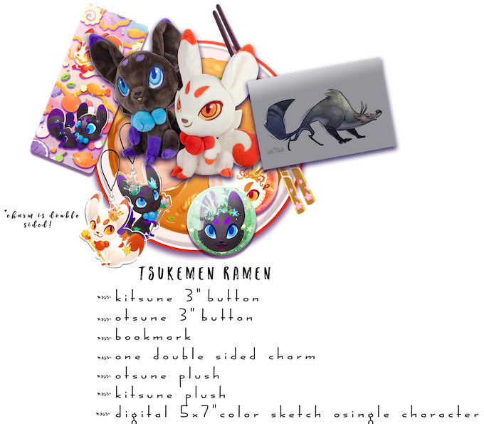 "Includes: One Kitsune Plush, One Otsune Plush, One Double Sided Charm, Both 3"" Buttons, 1 Bookmark and One digital color sketch of your choice of character"