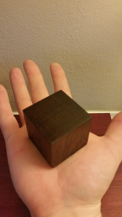 Two inch cube fits in my palm roughly