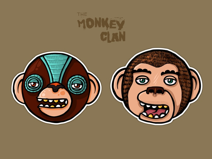 Damek The Monkey Clan Sticker