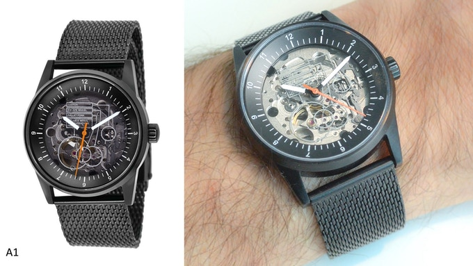 Caliper View with didactic face, black dial and case (A1)