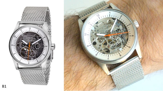 Caliper View with didactic face, steel dial and case (B1)