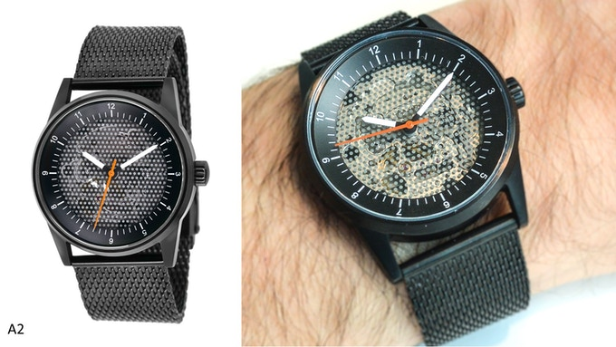 Caliper View with dot-screen face, black dial and case (A2)