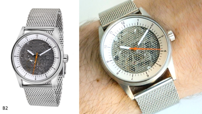 Caliper View with dot-screen face, steel dial and case (B2)