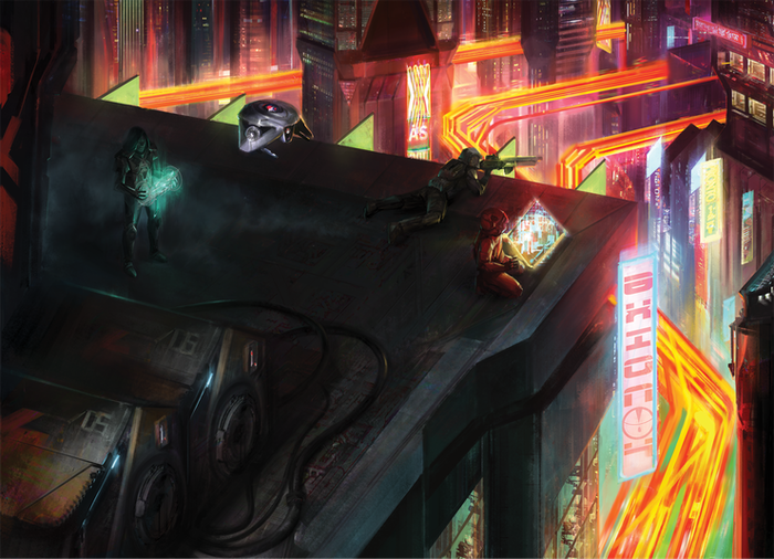 A Powered-by-the-Apocalypse RPG of mission-based action in a gritty neon-and-chrome cyberpunk future.