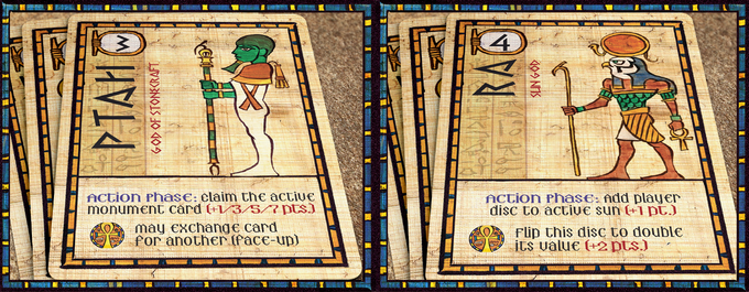 Ptah (left) allows the player to claim the active Monument Card (multiple matching monuments score points!). Ra (right) allows the player to mark the current Sun on the board with a Player Disc, scoring points.