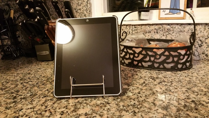 Holds Ipad or tablet on counter top - easy access to recipes or your favorite cooking channel