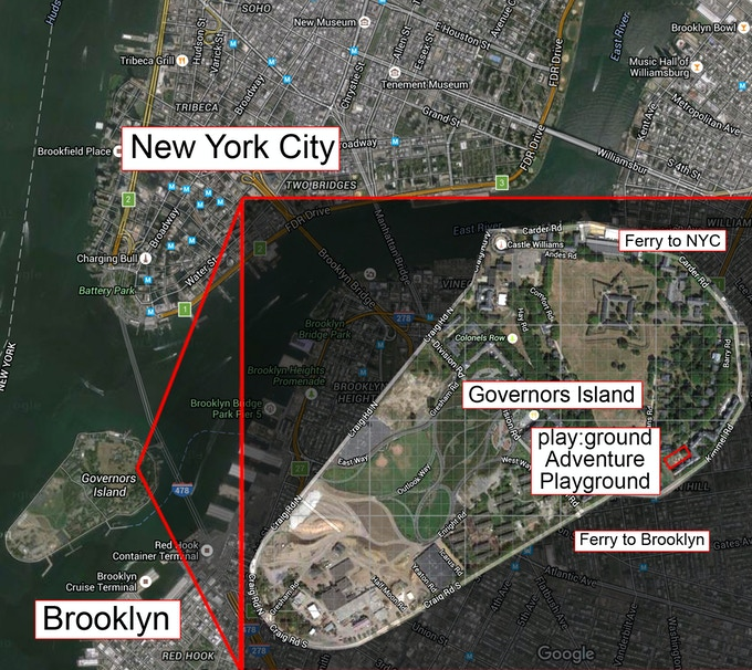 Map showing Governors Island below Manhattan and the play:ground site on the Island
