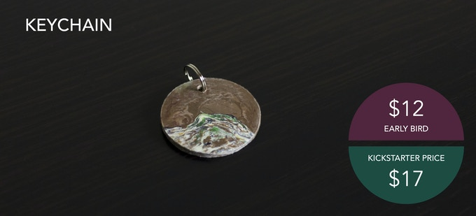 """A unique, handmade keychain. Roughly measuring 1.5"""" in diameter."""