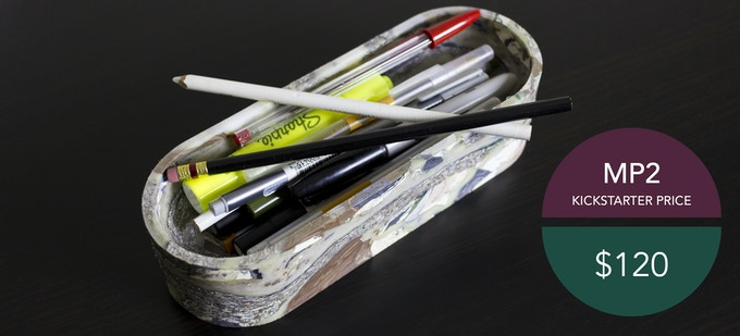 """MP2. Your medium organizer. Designed for your writing utensils. Measuring 8.5"""" long, 3"""" across, and 2"""" tall."""