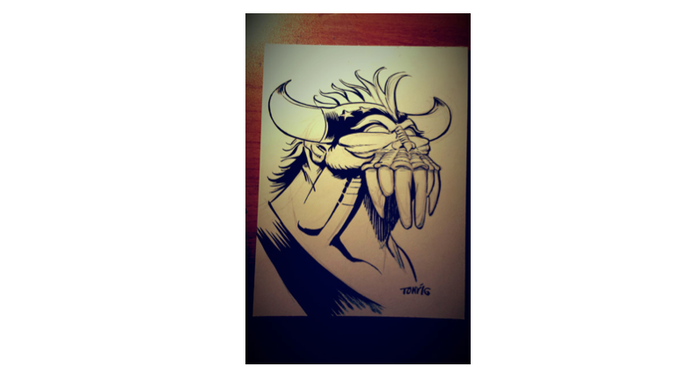 3x5 demon luchador sketch by Tony Gregori