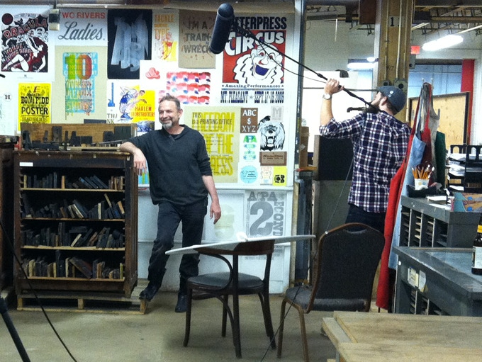 Jim Sherraden from Nashville's Hatch Show Print on camera for an interview during the 2015 Hamilton Wayzgoose