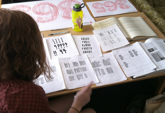 Reviewing sketches for lowercase letterforms