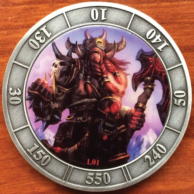 Photo of Actual Coin.  Coins are made of solid brass.  These were the initial prototypes. Special Abilities have been added.  See the artwork shown below.