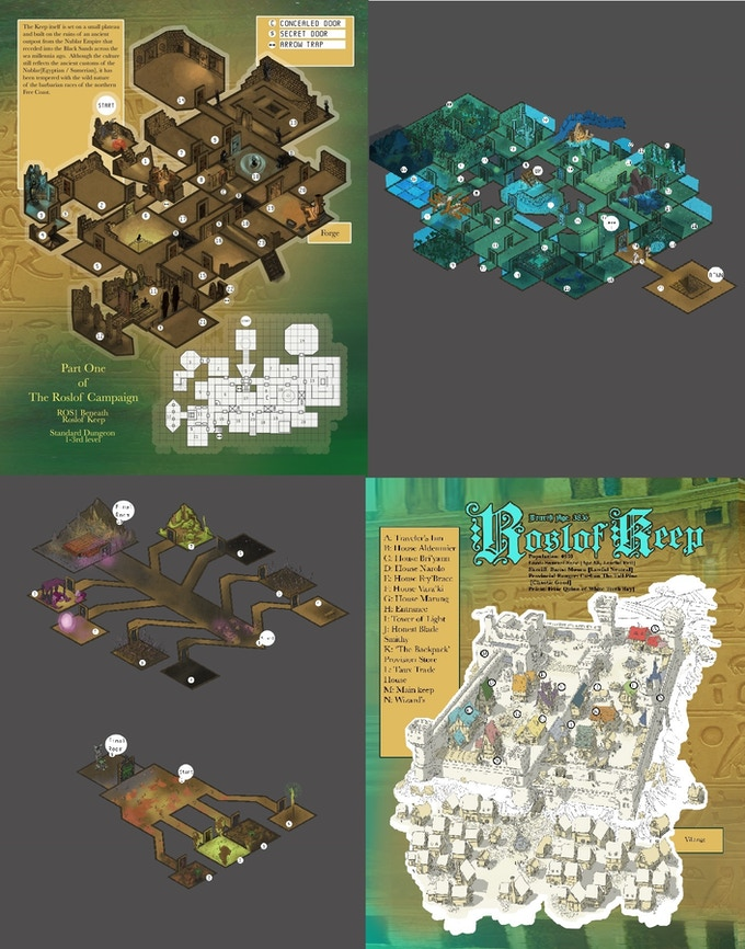 Sample dungeon and city maps for previous Folios