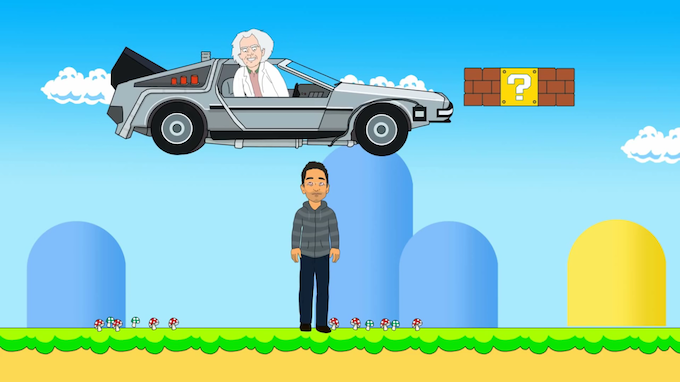 me in the future, courtesy of doc brown (also i am in a video game)