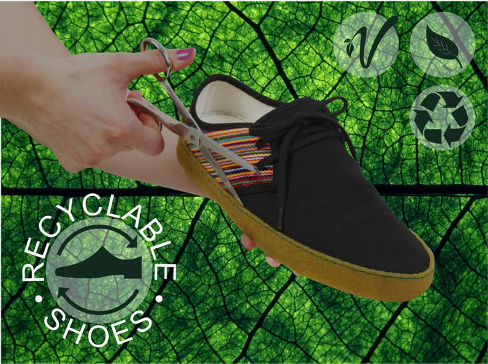 Recyclable and vegan footwear entirely designed for a circular economy made with organic and recycled materials.