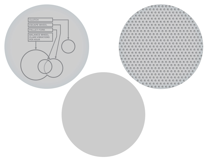 The didactic face labels key components - The dot-screen face subtly reveals the interior. The third option is clear glass.