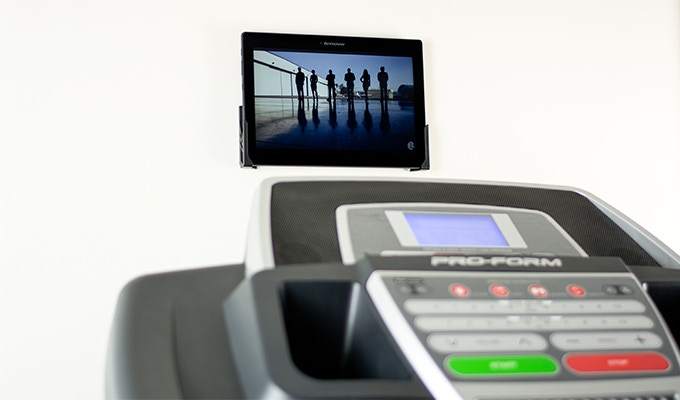 In the gym. Stream videos as you run on the treadmill or use the elliptical. Also handy for watching yoga or exercise training videos.