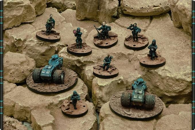 Example of Union of Terra models (left to right): Hunter (2), Major, Brigade, Siege Brigade, Support Brigade, Tech Brigade, Sergeant and Storm Brigade.