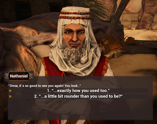First dialogue between the player and Omar, Unreal