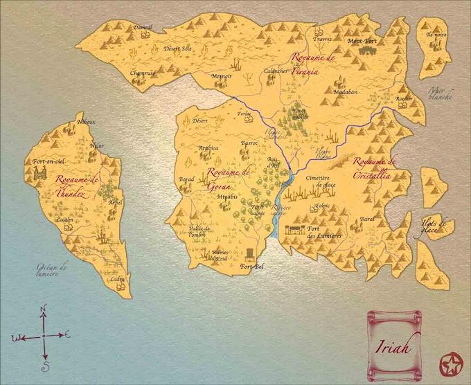 world map of Iriah - french
