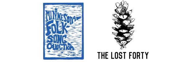 Minnesota Folksong Collection linocut and prototype Lost Forty T-Shirt design.