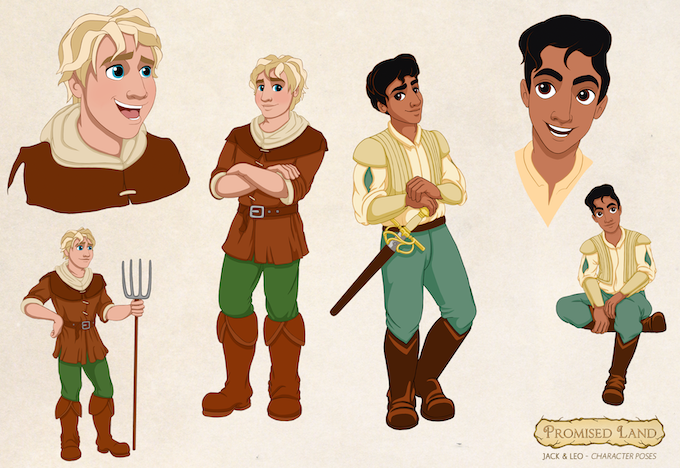 Character designs for our heroes Jack (the Farmboy) and Leo (the Prince)