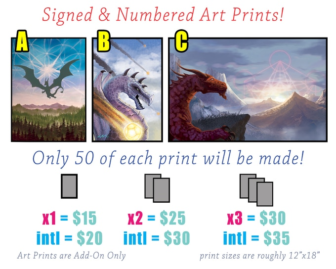 "Signed and numbered limited run art prints are available! (average size is 12""x18"") Prints will be on 100lb matte stock."