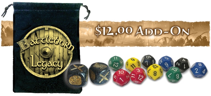 The dice bag and additional dice will be included inside the game box.