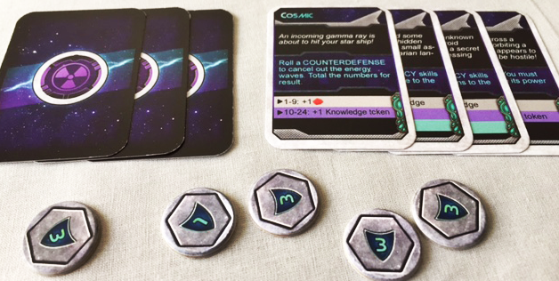 Knowledge cards and Galactic Point tokens