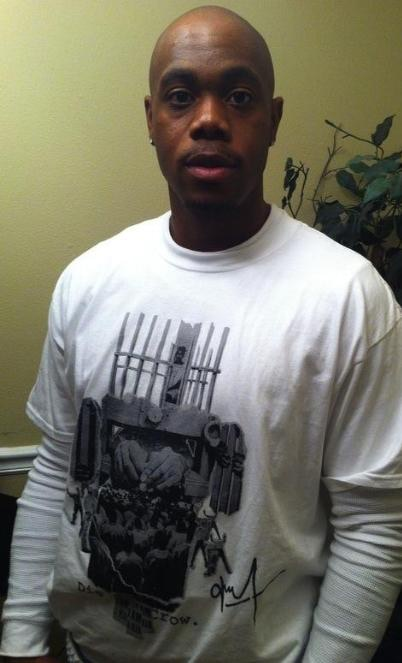 DJC artist Cedric Johnson sports a DJC T-Shirt