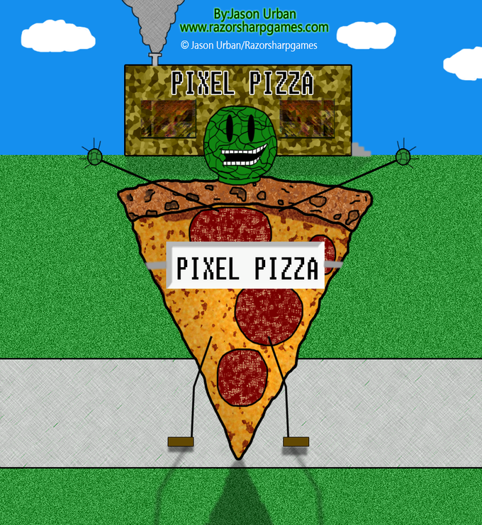Captain Cabbagehead got a job as a Pixel Pizza Mascot. He worked there for the summer only as it was a seasonal position.