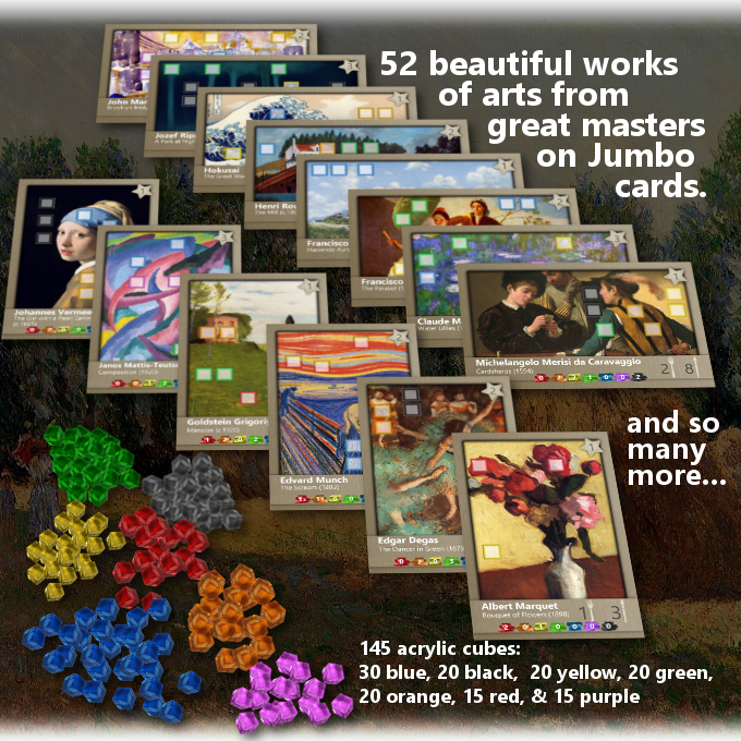 52 Jumbo Cards with great works of art and 145 acrylic cubes.