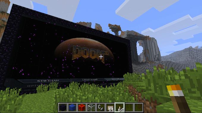 Doomcraft? Nether portal to Doom3 in Minecraft.