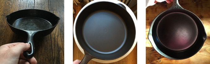 An early Field Skillet Prototype with great seasoning in the center. Vintage Wagners on the flanks.