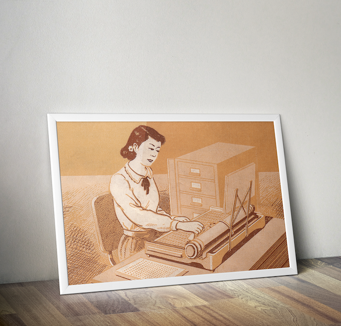 1950s Chinese Typewriter Poster | Vintage Reproduction | Design #2