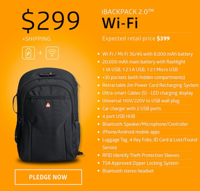 The iBackPack 2.0 WiFi/MiFi version is a communications powerhouse. You have 24/7 high-speed internet connection coupled with multiple massively powerful batteries, hidden pockets and secret compartments, iOS/Android controller apps and much more.