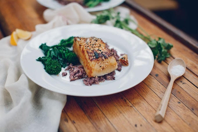 Broiled Miso-Glazed Sea Bass with Purple Rice and Steamed Rapini