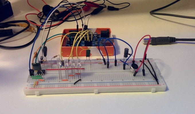 Breadboarded with MSGEQ7 Chip