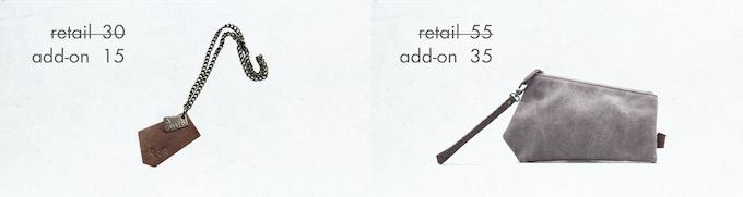 add-ons: bag charm, wristlet