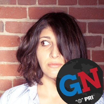 Zahra Noorbakhsh, writer, actor and comedian based in the San Francisco Bay Area, sporting a Global Nation social media badge!
