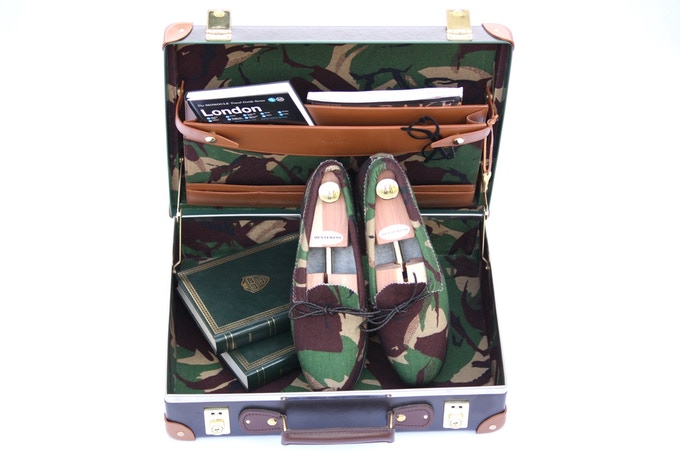 Camo Globetrotter Case with Fox Brothers Lining and Matching Shoes