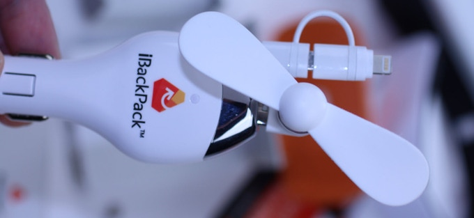 iBackPack 2.0 includes a Fan with USB-Standard plug. Also shown in this photo is the iBackPack 2.0 car charger you will receive. Car charger has 3 ft. retractable micro/lightning connectors.