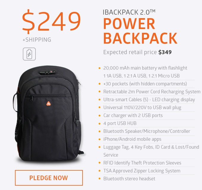 The iBackPack 2.0 PowerPack arms you with the most powerful backpack on the market in 2016. Massive 20k mAh Battery, Credit Card Battery, Lipstick Battery, 110V to USB Wall Charger and dozens of other high-tech features.