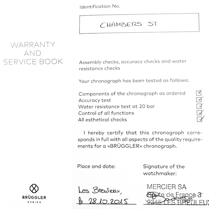 Hand signed Warranty-Booklet